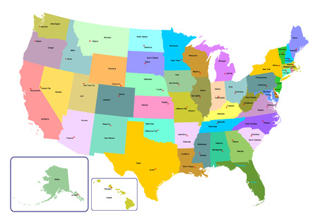 Colorful USA map with states and capital cities. Vector illustration Ilustração