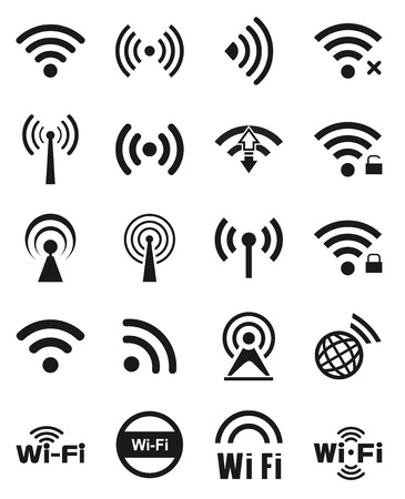 cordless: Set of twenty different black wireless