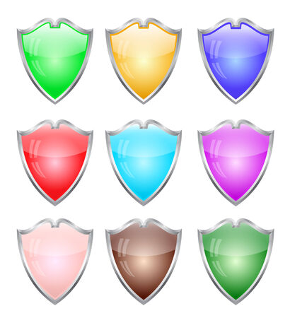 Steel shields in different colors illustration Vector