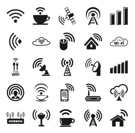 cordless phone: Set of twenty five different black wireless icons  Illustration