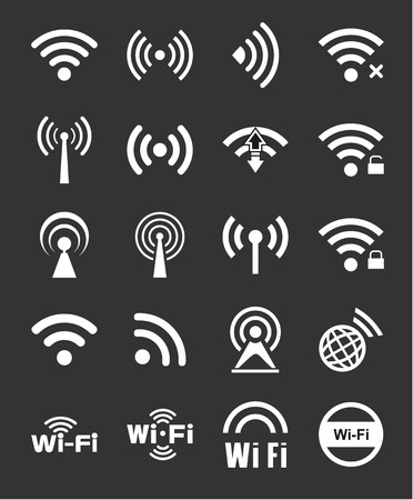 remote access: Set of twenty different white vector wireless and wifi icons for remote access and communication via radio waves