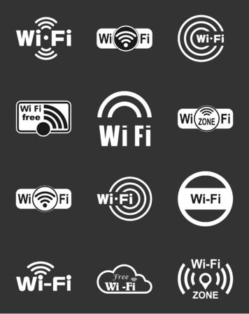 Set of twelve different white vector wireless and wifi icons for remote access and communication via radio waves Vector