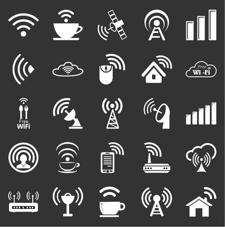 remote access: Set of twenty five different white vector wireless and wifi icons for remote access and communication via radio waves
