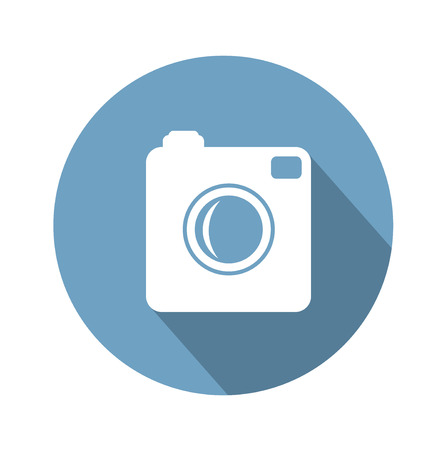 Hipster photo  camera icon with long shadow. Vector Illustration Vector