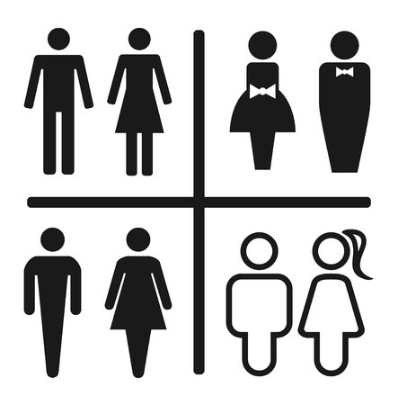 Restroom icon set isolated on white.   Vector illustration Vector