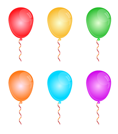 Color glossy balloons on white. Vector illustration Vector
