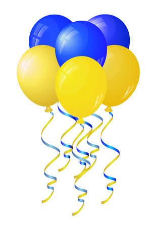 Glossy yellow and blue balloons stylized flag of Ukraine.Vector illustration Vector