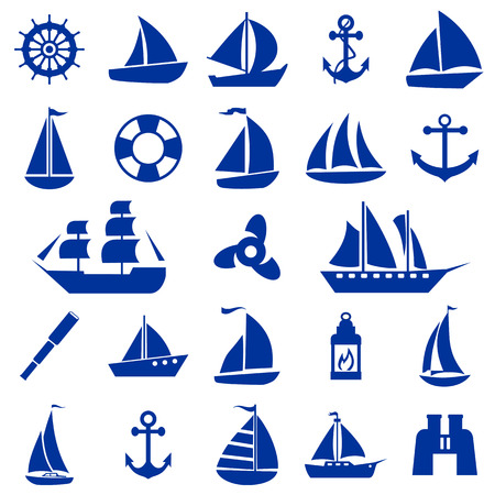 inflate boat: Sailboat symbol set.