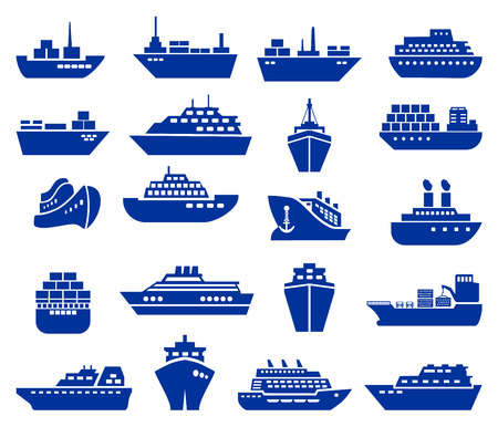 Ship and boat icon set. Vector illustration Çizim