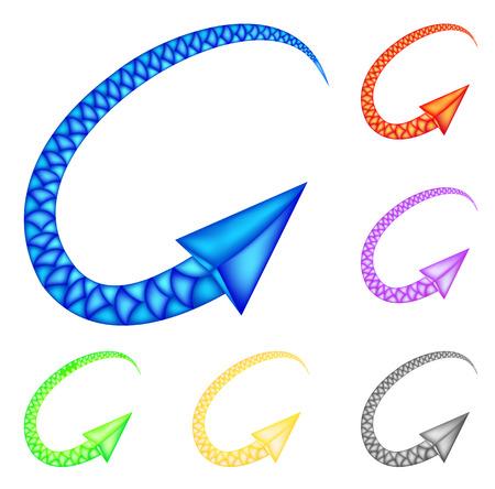 range of motion: Colored arrows imitating snake. Vector Illustration for design on white background.