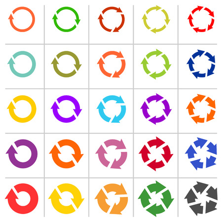 groupware: 25 arrow pictogram refresh reload rotation loop sign set. Simple color web icon on white background.  Vector illustration