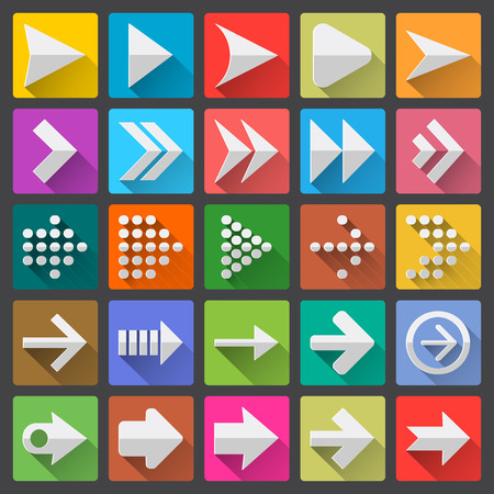 score board: 25 arrow icon set, flat UI design trend, vector illustration of web design elements Illustration