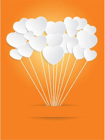 the valentine day: Valentines Day of White Paper Heart on a Orange Background. Vector illustration