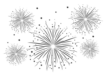 Fireworks Black and White . Vector illustration Vector