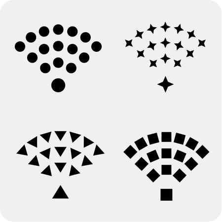 wifi access: Set di wireless e wifi nero icone vettoriali per l'accesso remoto e la comunicazione via onde radio.