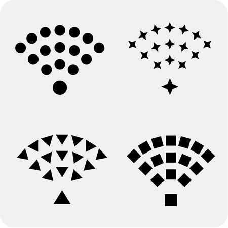 remote access: Set of black vector wireless and wifi icons for remote access and communication via radio waves.