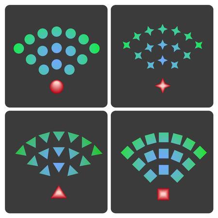 wifi access: Set di wireless e wifi icone vettoriali per l'accesso remoto e la comunicazione via onde radio Vettoriali