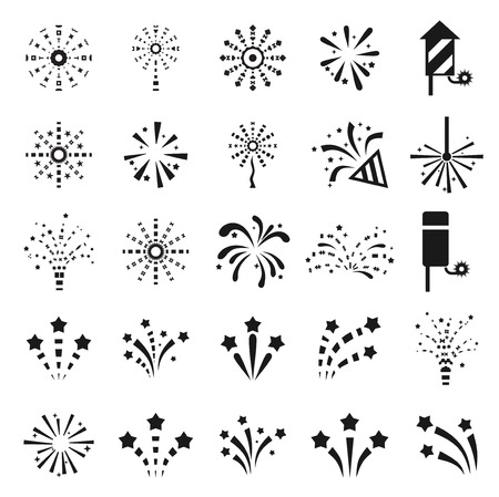 Set of Black and White Icons Fireworks. Vector illustration