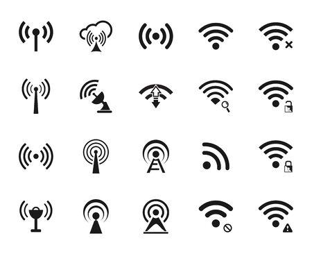 wifi access: Set di venti diversi nero vettore wi-fi e le icone wireless per comunicare tramite onde radio, l'accesso remoto, senza fili