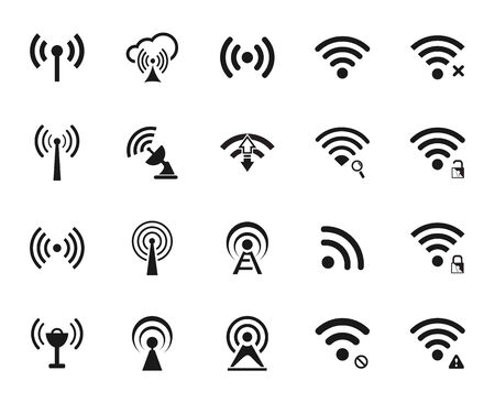 offline: Set of twenty different black vector wi-fi and wireless icons for communicate using radio waves, remote access, wireless Illustration