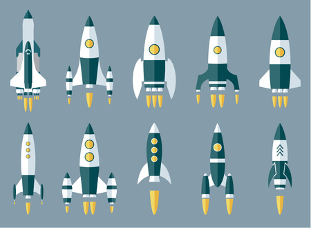 stabilizer: Set of Various Rocket Spaceship. Vector Flat  Icon