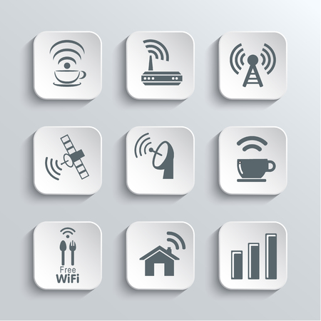 remote access: Wireless and Wi-Fi Web Icons Set for Remote Access and Communication Via Radio Waves - Vector White App Buttons Design Element With Shadow. Trendy Design Template Illustration