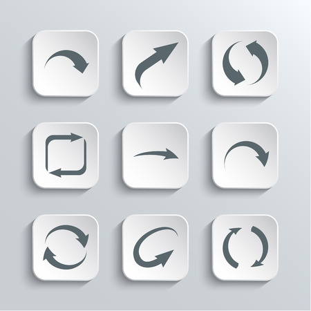 range of motion: Arrows Web Icons Set - Vector White App Buttons Design Element With Shadow. Trendy Design Template Illustration