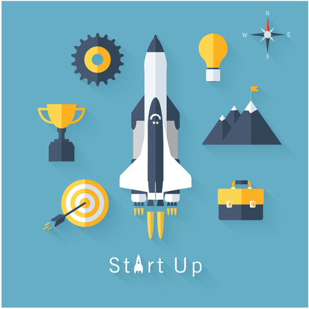 product innovation: Concept of new business project startup development and launch a new innovation product on a market. Flat design modern vector illustration.