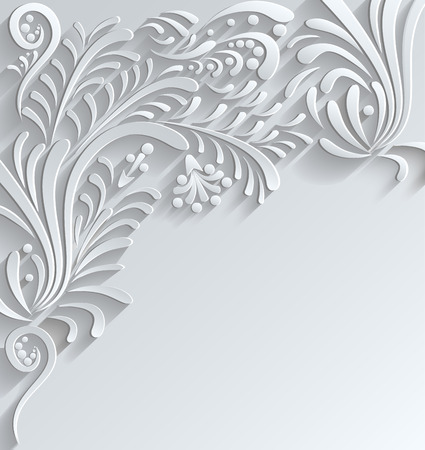 Abstract Floral  3d Vector Background,Trendy Design Template Ilustração