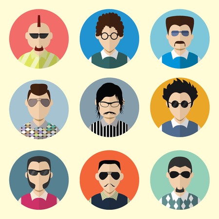 Set of Circle Icons with Man Sunglasses  in Trendy Flat Style. Template Elements for Web and Mobile Applications. Vector Illustration. Vector