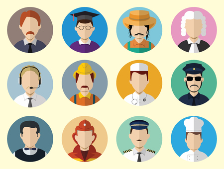 Set of Circle Icons with Man Different Professions  in Trendy Flat Style. Template Elements for Web and Mobile Applications. Vector Illustration. Vector
