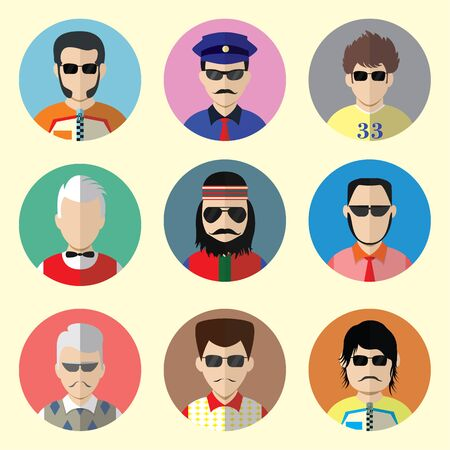 commentator: Set of Circle Icons with Man Sunglasses  in Trendy Flat Style. Template Elements for Web and Mobile Applications. Template Elements for Web and Mobile Applications. Vector Illustration. Set - 10