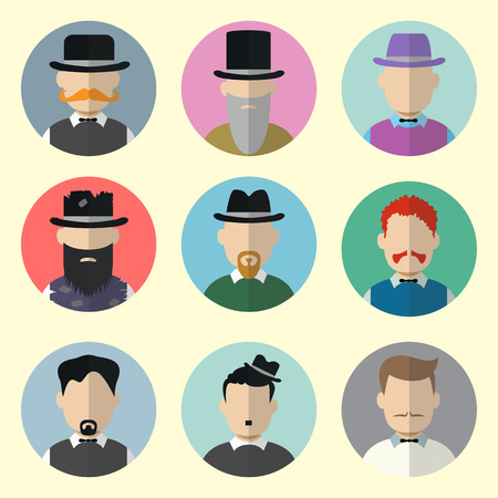 gigolo: Set of Circle Icons with Man in Trendy Flat Style. Template Elements for Web and Mobile Applications. Vector Illustration.
