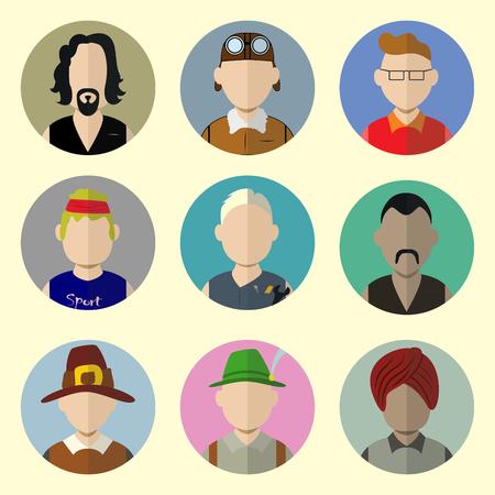 mosquetero: Conjunto de Iconos del c�rculo con el hombre de moda en Flat Style. Elementos de plantilla para Web y aplicaciones m�viles. Ilustraci�n del vector.