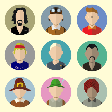 Set of Circle Icons with Man in Trendy Flat Style. Template Elements for Web and Mobile Applications. Vector Illustration.  Vector