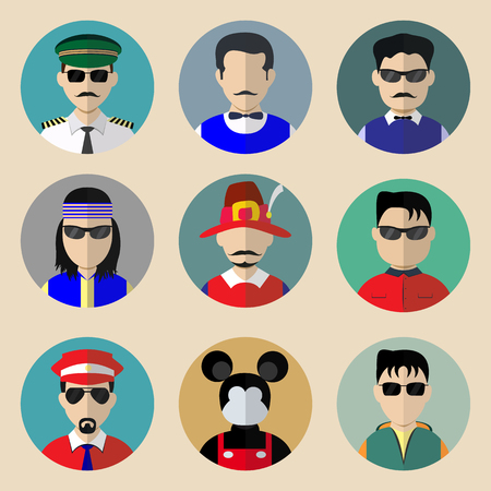 Set of avatars. Flat icons man. Characters for web Vector