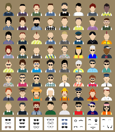 Set of avatars. Flat icons man with removably sunglasses or whiskers. Characters for web Vector