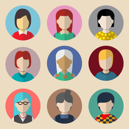 Set of avatars. Flat icons woman. Characters for web Vector