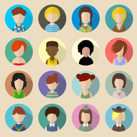 Set of circle flat icons with women. Vector illustration Vector