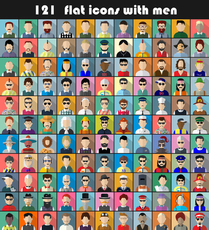 Set of  flat icons with men. Characters for web.Vector illustration