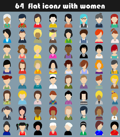 Set of flat icons with women.Characters for web.Vector illustration Vector