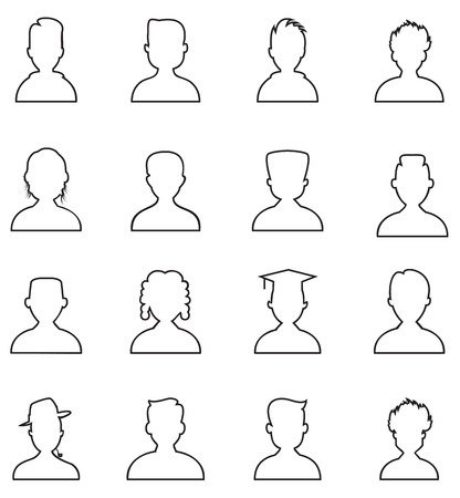 Line people icon. Man outline vector set Vector