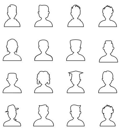 fila di persone: Persone icona linea. L'uomo contorno vettore set