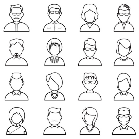 Line people icon. People outline silhouettes vector set Vector