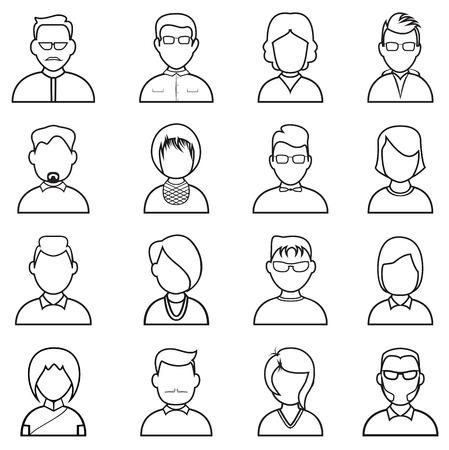 fila di persone: Persone icona linea. Persone schema sagome insieme vettoriale