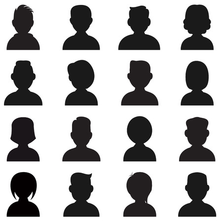 multitude: People Silhouettes Icon. Vector avatar