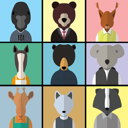 Flat design style animal avatar icon set. Vector illustration Vector