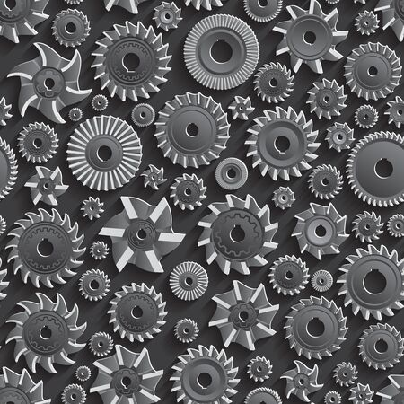 milling: Creative Black Milling cutters for metal 3d Seamless Pattern Background.  Illustration