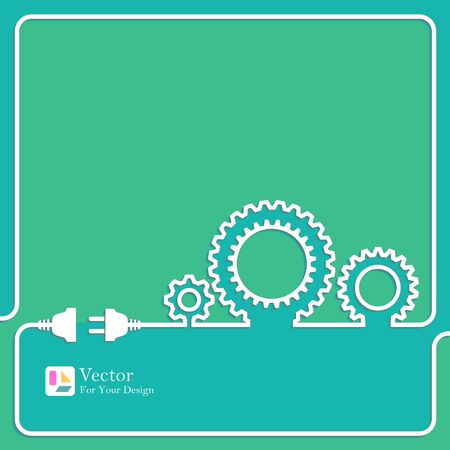 engineering design: Gears symbol outline. concept of motion and mechanics, connection and operation engineering design work.