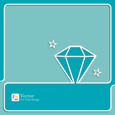 karat: Diamond icon outline. concept of design work. Illustration